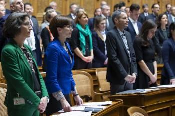 Le 2 d/u00e9cembre sous la coupole f/u00e9d/u00e9rale /u00e0 Berne, un nombre record de femmes ont pr/u00eat/u00e9 serment /u00e0 l'occasion de l'ouverture de la 51e l/u00e9gislature du parlement suisse. Keystone // Peter Klaunzer