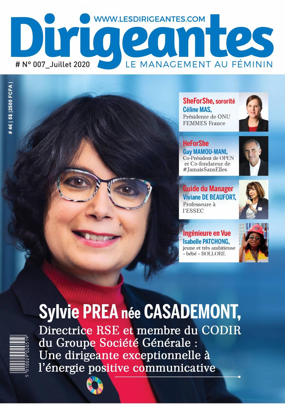 Dirigeantes Mag avec en UNE Sylvie PREA, Directrice RSE et membre du CODIR de Société Générale