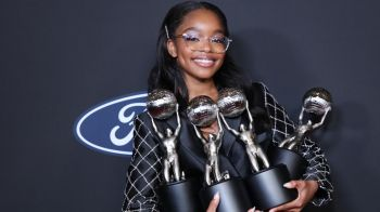 Marsai Martin poses with her trophies at the 51st NAACP Image Awards in February. Getty Images for BET