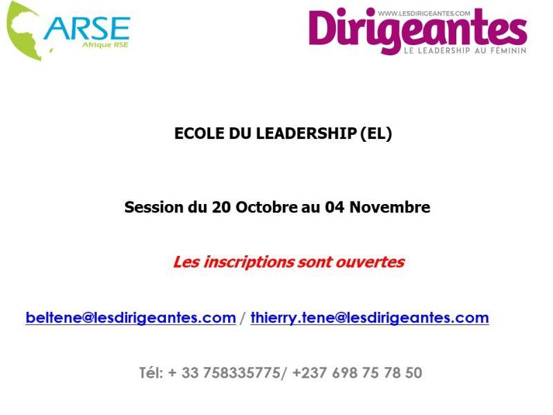 ECOLE DU LEADERSHIP: SESSION DU MOIS D'OCTOBRE 2021